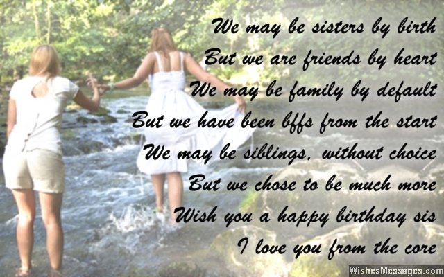 Beautiful poem birthday wishes for sister