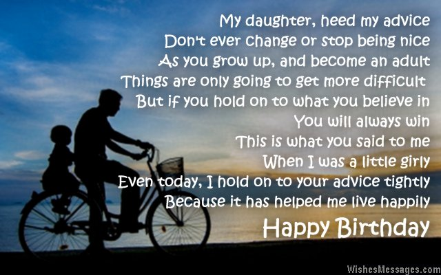 Birthday poem to father from daughter