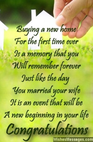 Congratulations card message poem for buying a new home