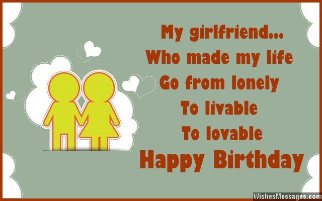 Cute Birthday Card Wish For Girlfriend