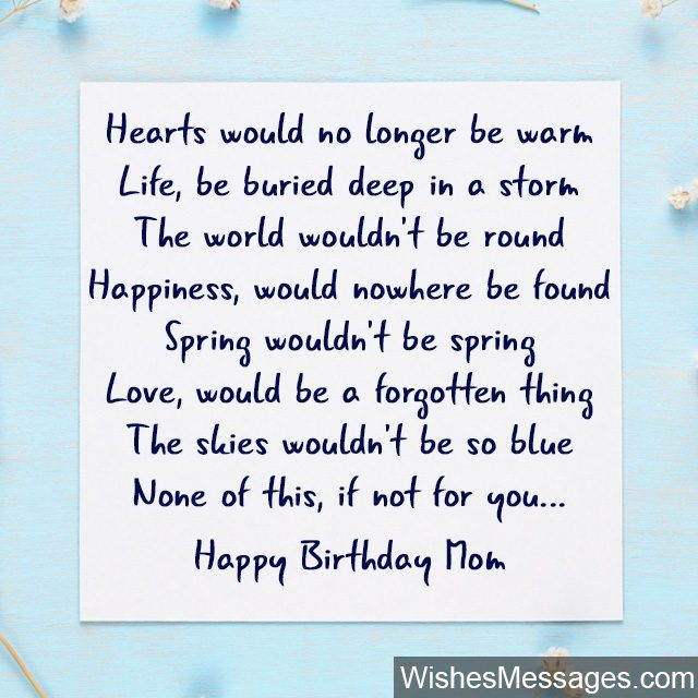 Cute Birthday Poem For Mom To Put Write A Greeting Card