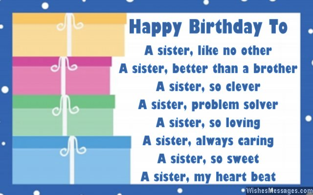 Cute birthdya card poem for sister