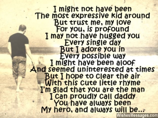 Dad you are my hero cute poem for father from son daughter