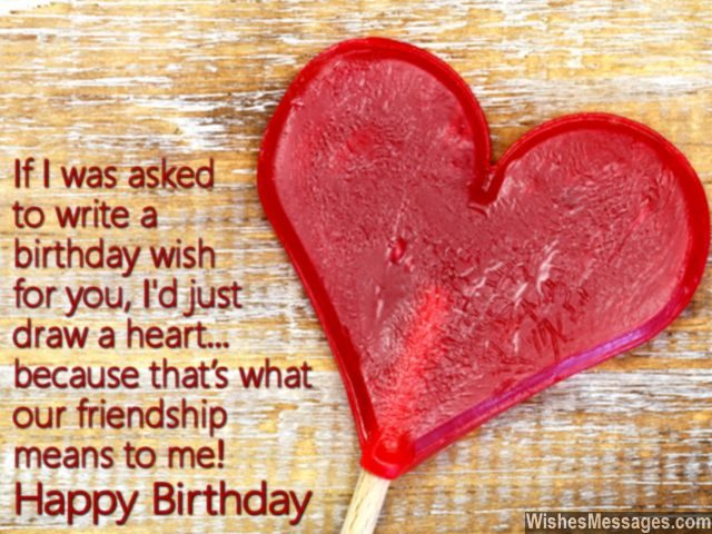 Friendship heart happy birthday card message for best friend