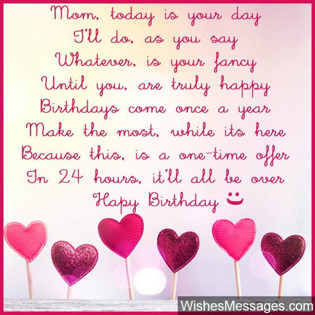 Funny birthday poem for mom greeting card