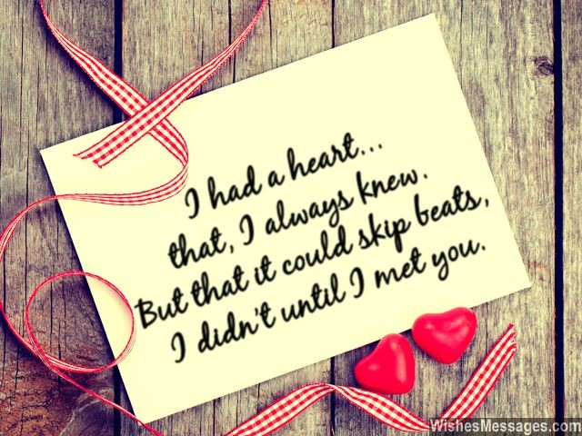 Love quote for her valentines day card heart