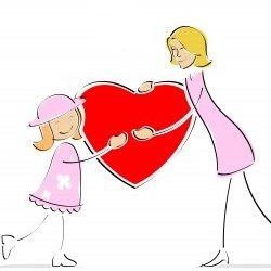 Mom and daughter holding a heart