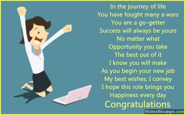 Motivational greeting for new job
