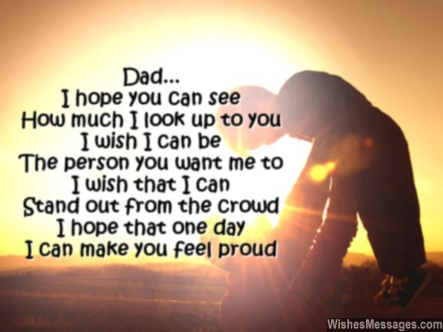 Sweet poem for dad from son daughter respect and love