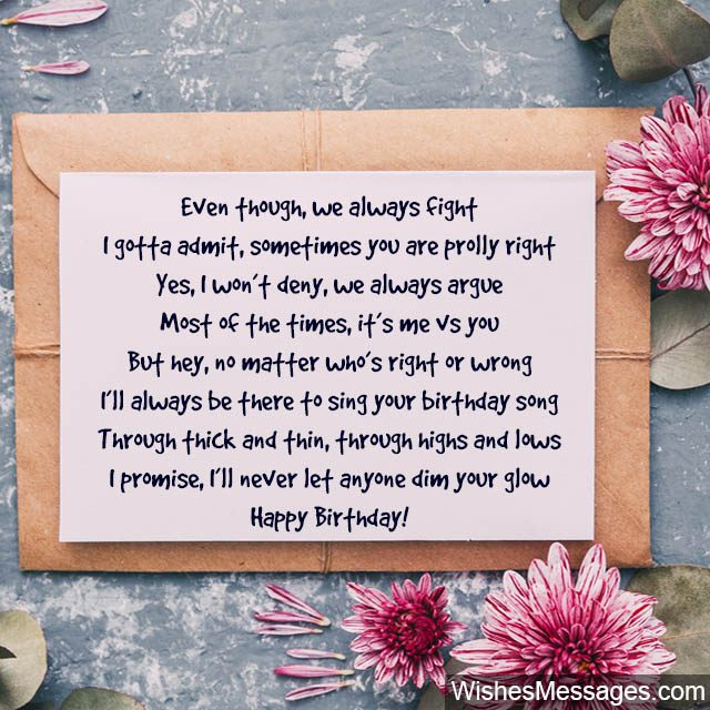 Enjoyable Birthday Poems For Sisters Wishesmessages Com Funny Birthday Cards Online Fluifree Goldxyz
