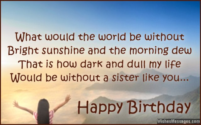 Beautiful Birthday Card Message For Sister