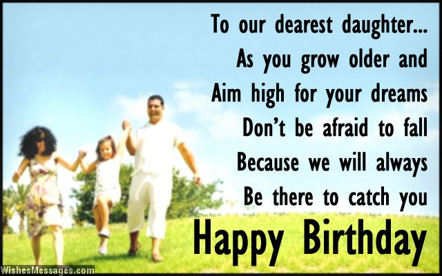 Beautiful birthday card wish for daughter from mom and dad