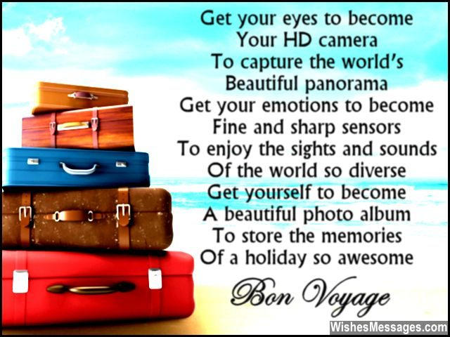 Beautiful bon voyage poem to write in a greeting card