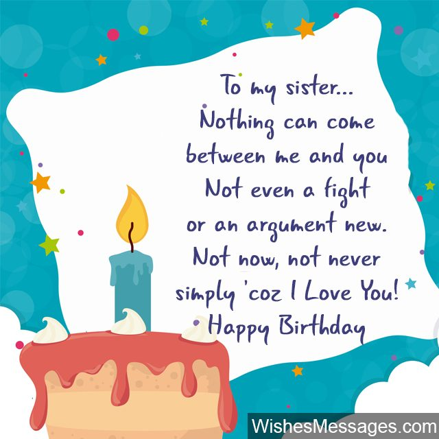 Birthday Cake Candles Greeting Card For Sister