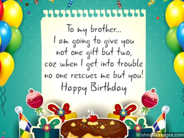 Birthday wishes for brother quotes and messages wishesmessages birthday greeting card for brother two gifts bail me out of trouble voltagebd Gallery