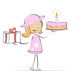 Cartoon of little girl holding birthday cake and present