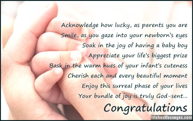 Congratulations poem to parents for newborn baby boy
