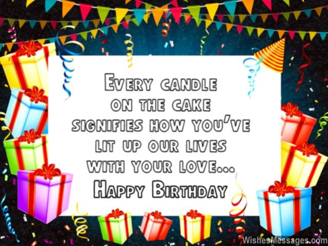 Cute birthday greeting message husband wife candles on cake