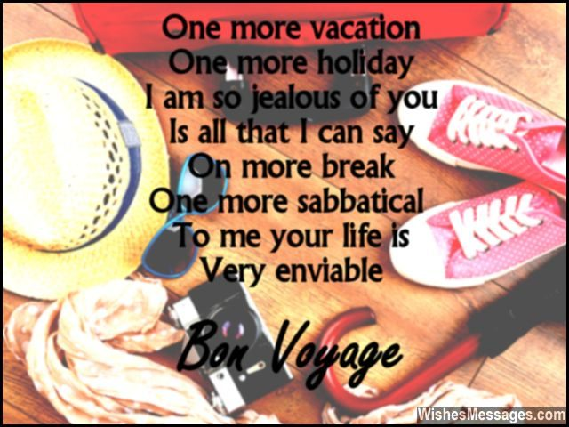 Cute bon voyage message for friends