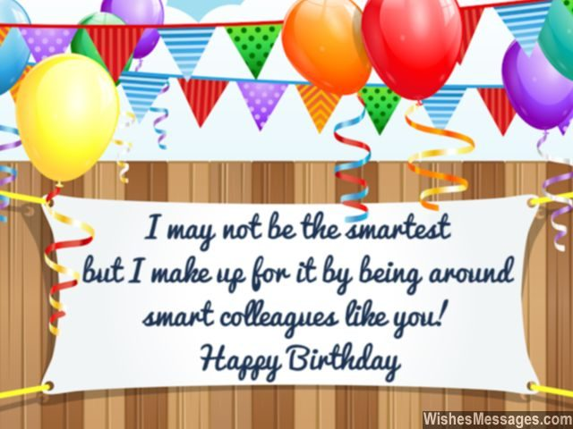 Funny birthday message for smart colleagues greeting card