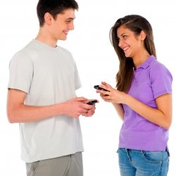 Girlfriend and boyfriend exchanging text messages