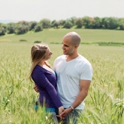 Husband and wife in field