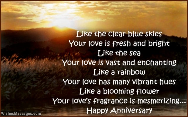 Romantic anniversary wishes for couples