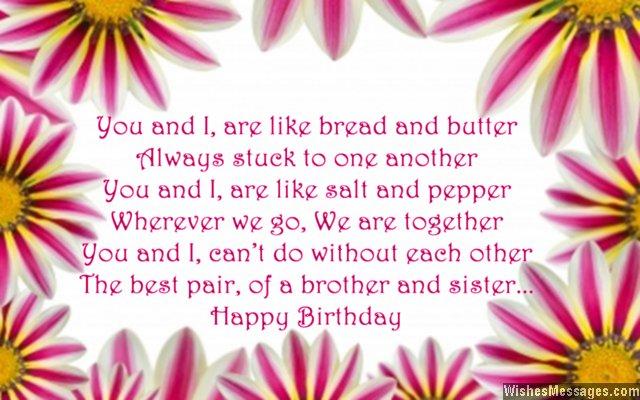 Sweet birthday card poem for brother from sister