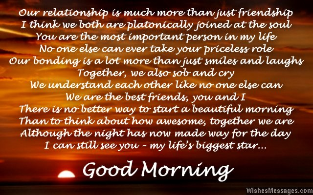 Good morning my best friend poem
