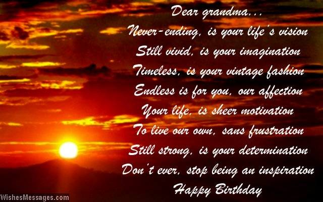 Beautiful birthday greeting card poem for grandma
