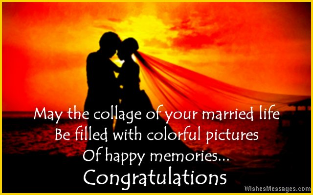 Beautiful congratulations message for a wedding card