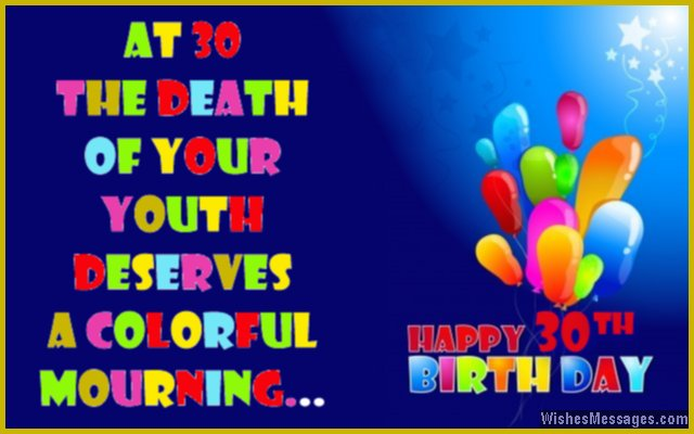 Funny 30th birthday wishes