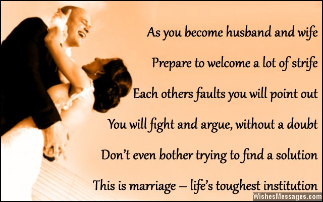 Funny Greeting Card Quote For Newlywed Couple