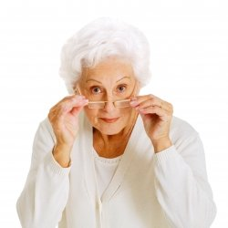 Grandma taking off her spectacles