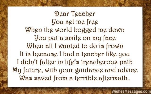 Inspirational poem for teacher to say thank you