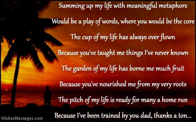 Short poem to say thank you to dad in a message