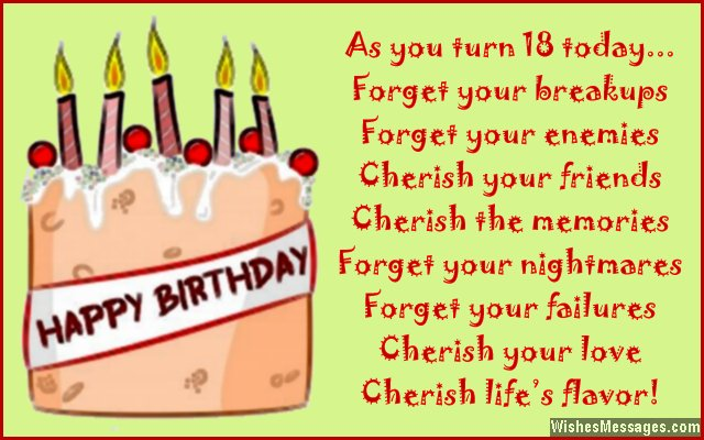 Sweet 18th Birthday Card Message