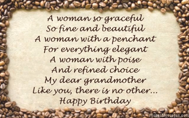Sweet birthday card poem for grandmother