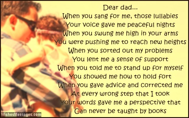 Sweet poem to say thank you to dad