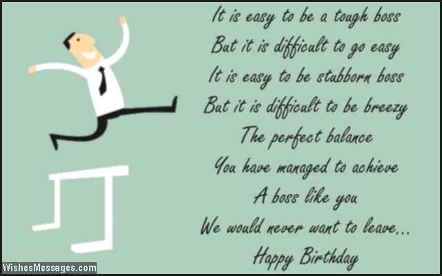 Thankful birthday poem for boss