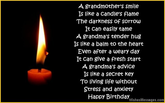 Touching birthday quote rhyme to grandma from dranddaughter or grandson