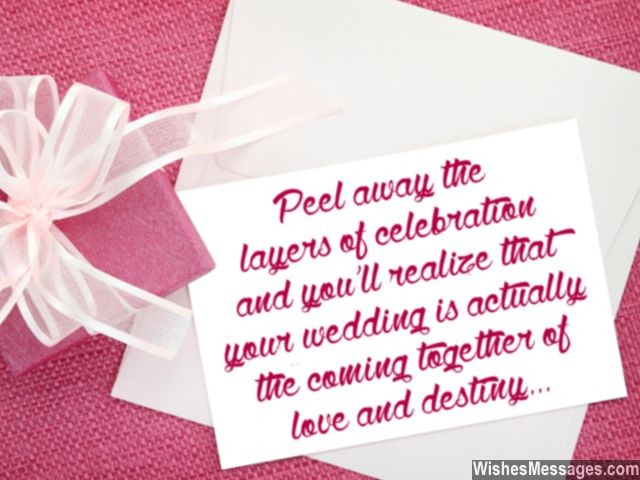 Wedding card message about love and destiny best wishes for couple