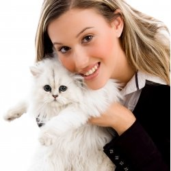Woman with her pet cat