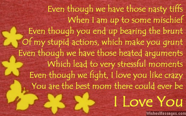 Cute love poem to mother from son or daughter
