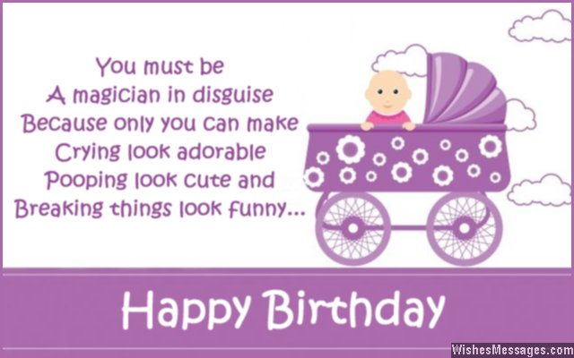 Funny 1st birthday card message