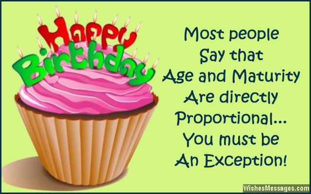 Funny birthday card quote about age