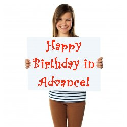 Girl holding card to wish happy birthday in advance