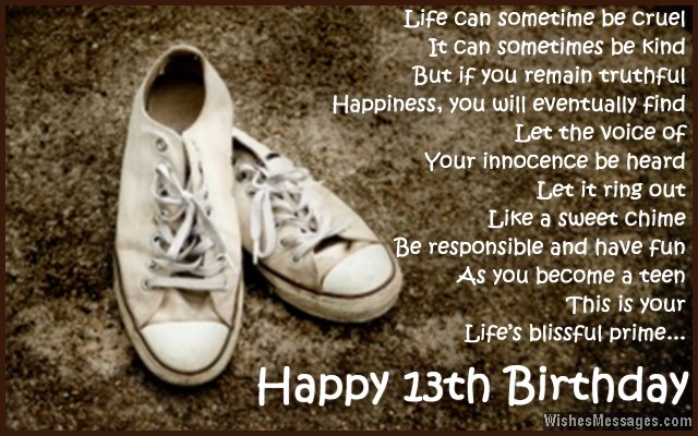 Inspirational 13th birthday card message