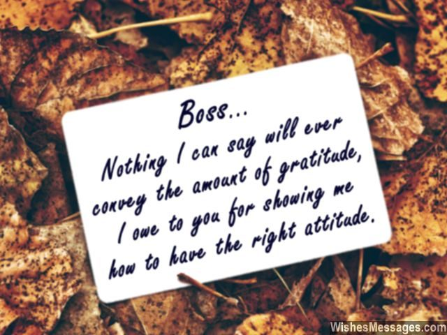 Inspirational quote for boss to say thank you gratitude