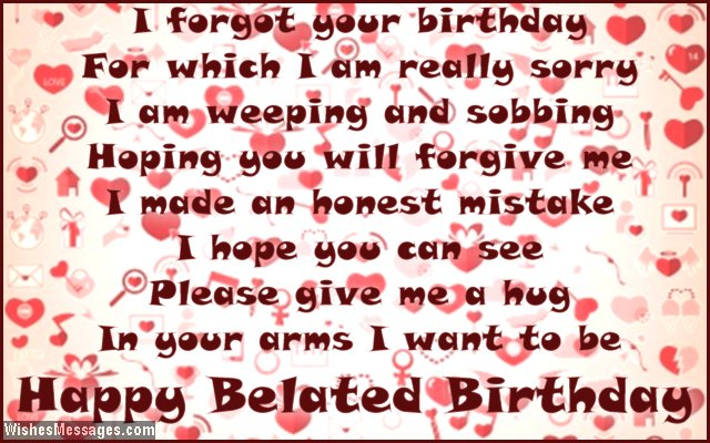 Romantic Birthday Greeting Card Message For Boyfriend Belated